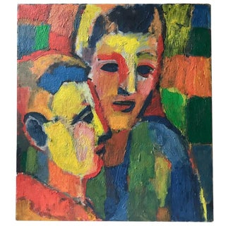 Artist Rosenhouse Oil on Canvas - Double Faces, Signed For Sale