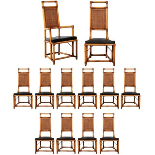 Elegant Restored Set of Twelve Throne Dining Chairs by Willow and Reed For Sale