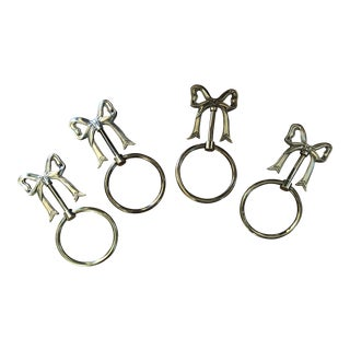 Vintage Brass Bow Towel Rings - Set of 4