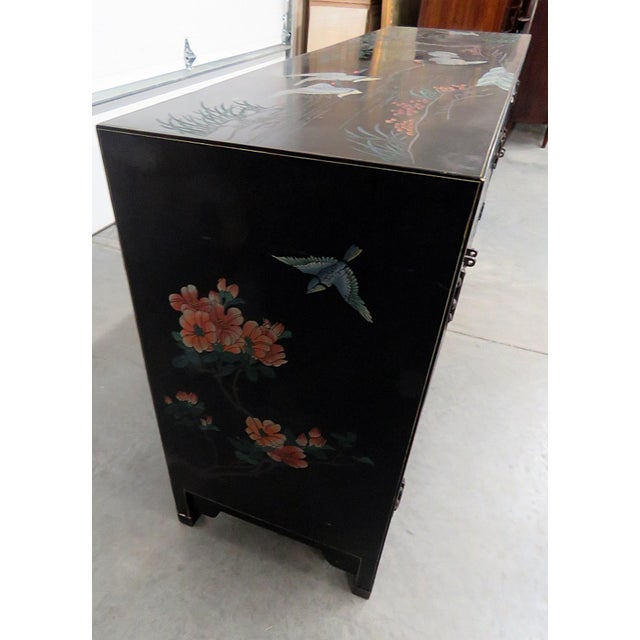 Black Asian Paint Decorated Cabinet For Sale - Image 8 of 11