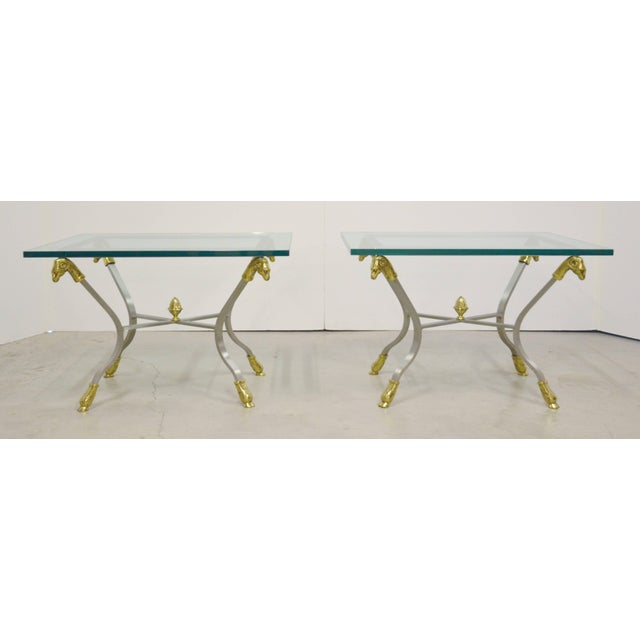 1970s Pair of Steel, Brass and Glass Side Tables For Sale - Image 5 of 11