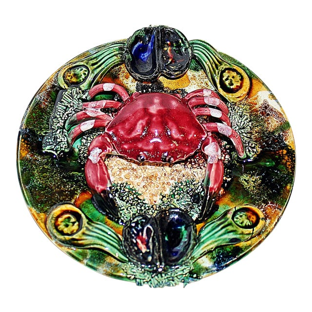 Ceramic Majolica Crab Plate For Sale