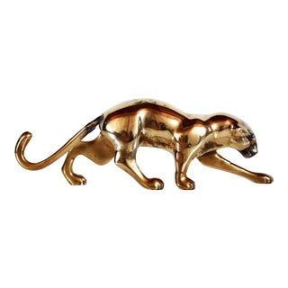 1980s Dolbi-Cashier Polished Brass Modernist Jaguar Sculpture For Sale
