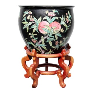 Vintage Black Fish Bowl Planter With Peaches and Wood Stand For Sale