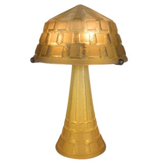 Art Deco Handmade Acid Etched Glass Table Lamp Bronze Supports by Daum