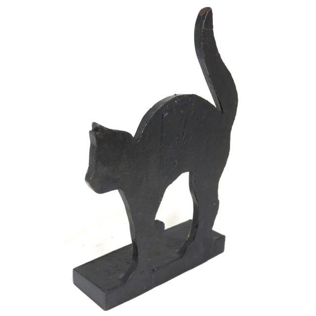 Black 1920s Black Halloween Cat Cast Iron Doorstop For Sale - Image 8 of 13