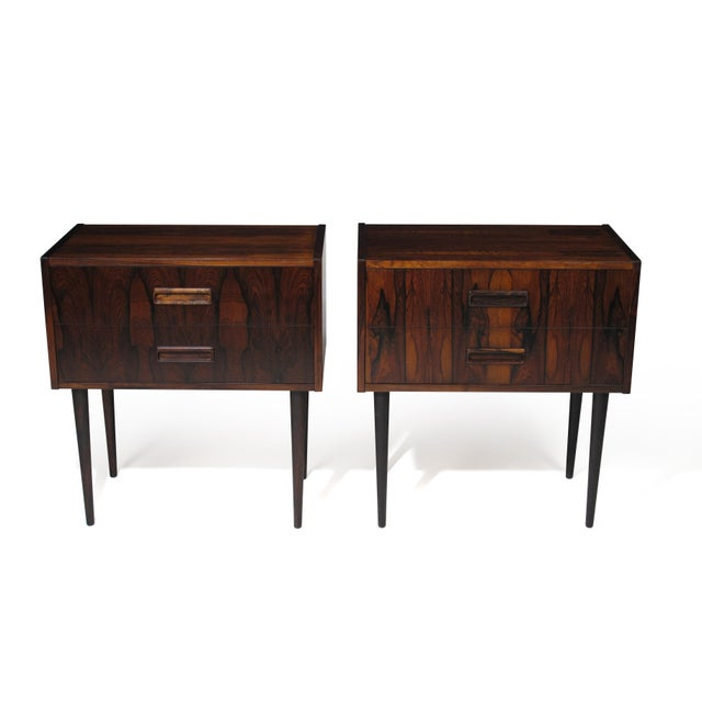 Danish Rosewood Nightstand Bedside Tables With Drawers - a Pair For Sale - Image 9 of 9
