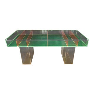 Modern Multi-Color Lucite Coffee Table For Sale