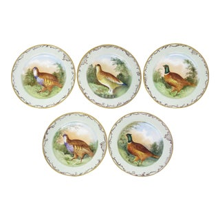 Antique Jean Pouyat Jpl Limoges France Hand-Painted Plates With Game Birds - Set of 5 For Sale