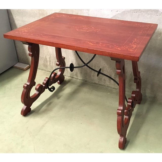19th Century Baroque Spanish Side Table With Marquetry Top & Lyre Legs For Sale - Image 13 of 13