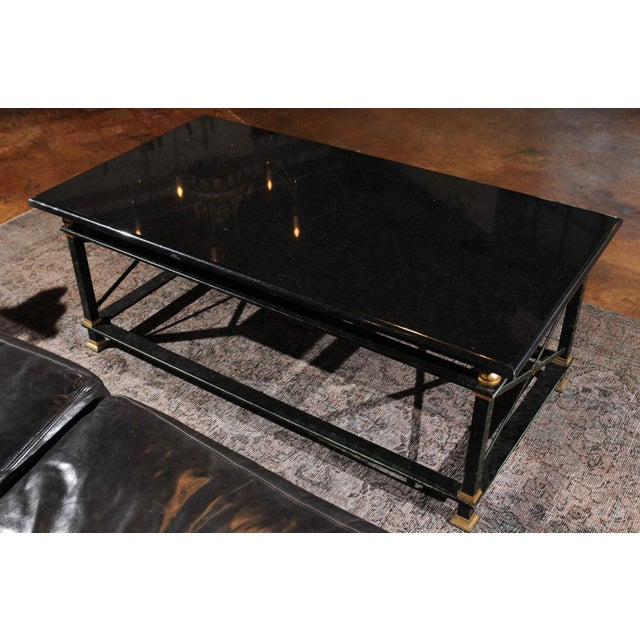French French Parisian Coffee Table with Black Marble Top, Iron Base and Brass Accents For Sale - Image 3 of 12