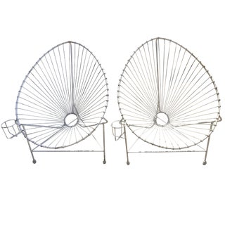 Mathieu Matégot Style Modernist White Wire Chairs - A Pair For Sale