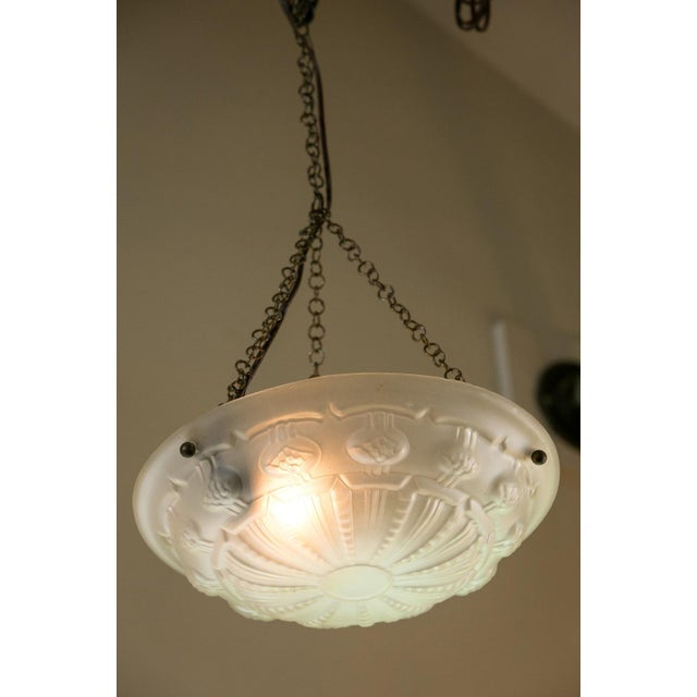 Art Deco Frosted Glass Pendant For Sale - Image 4 of 7