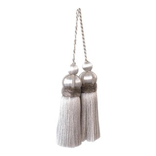 "Pair of Silver Key Tassels With Cut Ruche - 5.75"" For Sale"