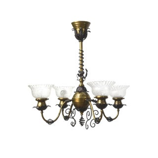 Traditional Brass & Wrought Iron Electric Fixture For Sale