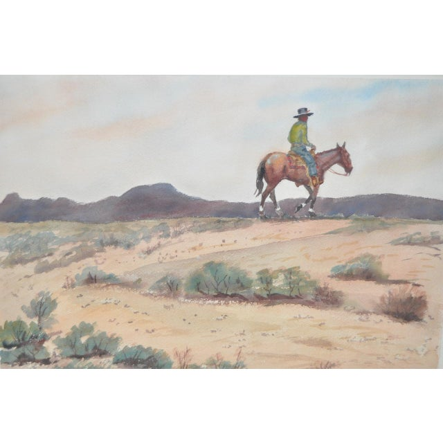 """Impressionism John B. Munroe """"Desert Tranquility"""" Watercolor c.1960s For Sale - Image 3 of 9"""