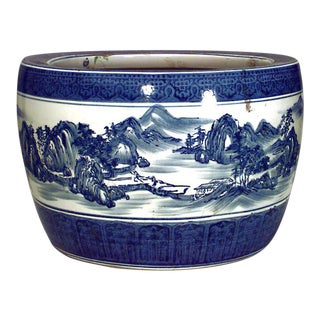 Asian Chinese Style Blue and White Porcelain Jardinieres For Sale