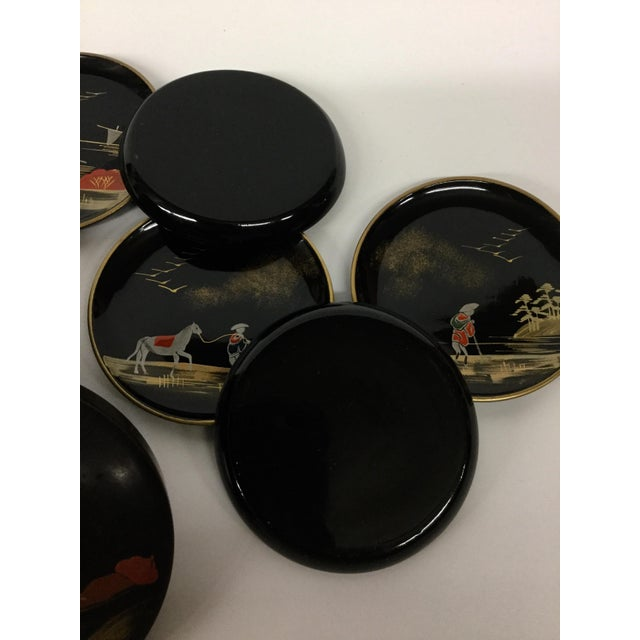 Vintage Mid-Century Modern Lacquer Coaster Set - Set of 5 For Sale - Image 10 of 11