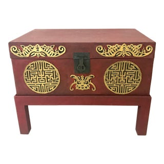 Vintage Leather Chinese Red and Gold Double Happiness Wedding Chest, Blanket Box or Trunk For Sale