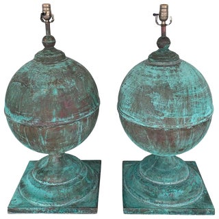 Monumental Pair of Patinated Copper Orbs, Now as Lamps For Sale