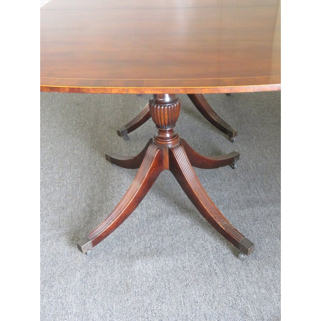 Baker Georgian Style Double Pedestal Dining Table For Sale In Philadelphia - Image 6 of 11