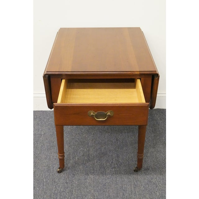 Late 20th Century 20th Century Tradiitonal Statton TruType Americana Solid Cherry Drop Leaf Pembroke End Table For Sale - Image 5 of 13