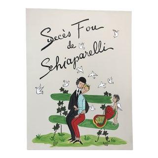 Schiaparelli Fragrance Advertising Painting Peynet Style For Sale