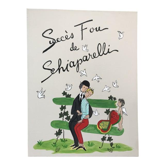 Schiaparelli Succes Fou De Fragrance Advertising Painting Peynet Style Attributed Marcel Vertes For Sale