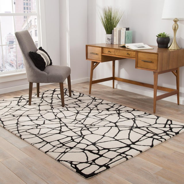 2010s Nikki Chu by Jaipur Living Chandler Handmade Abstract Cream/ Black Area Rug - 8' X 10' For Sale - Image 5 of 6