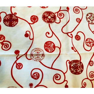 Jed Johnson Pushkin Red on White Linen Fabric For Sale