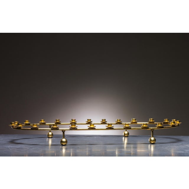 Large Brass Oval Candelabra for 24 Candles, Denmark, 1950s - Image 2 of 2