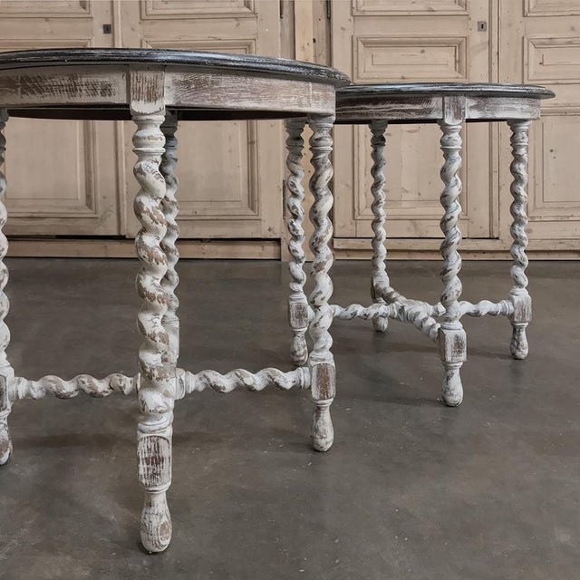 Brown Pair Antique Barley Twist Painted End Tables For Sale - Image 8 of 13