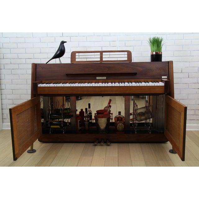Caning Mid-Century Modern Hidden Piano Bar With Liquor Wine Storage - Baldwin Acrosonic For Sale - Image 7 of 12