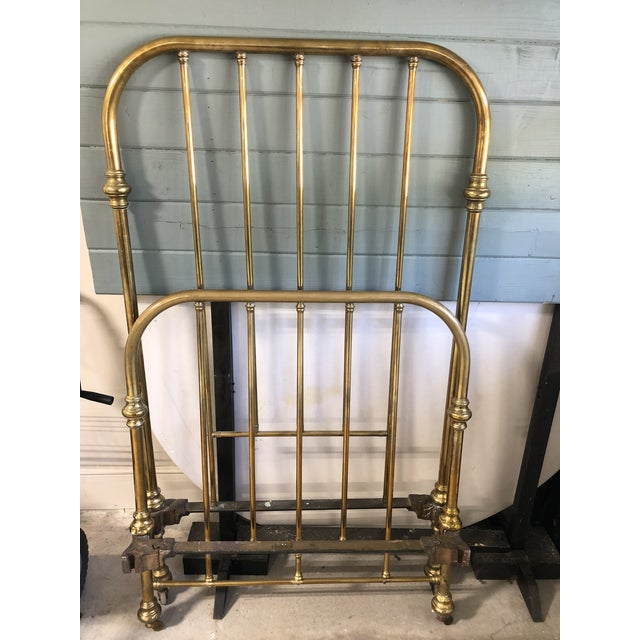 Traditional Antique Brass Twin Bed Foot Board and Head Board For Sale - Image 3 of 3