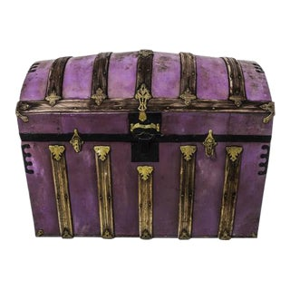 1900s Asian Travel Chest / Steamer Storage Trunk For Sale