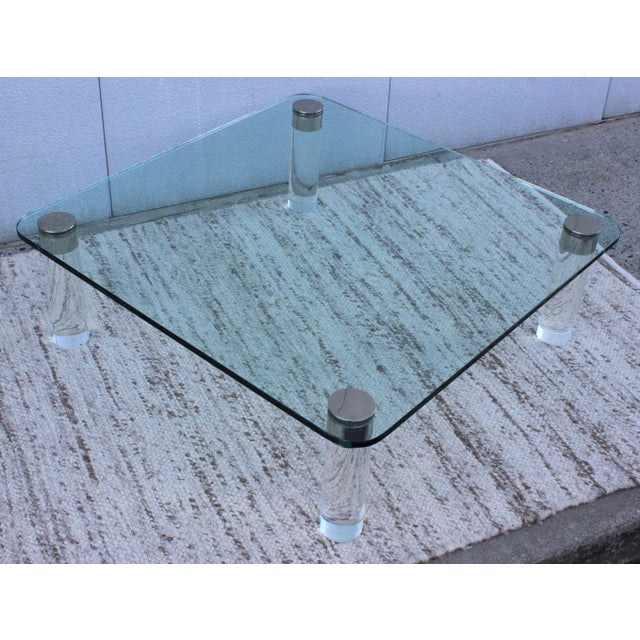 1970's Large Lucite Coffee Table For Sale - Image 4 of 11