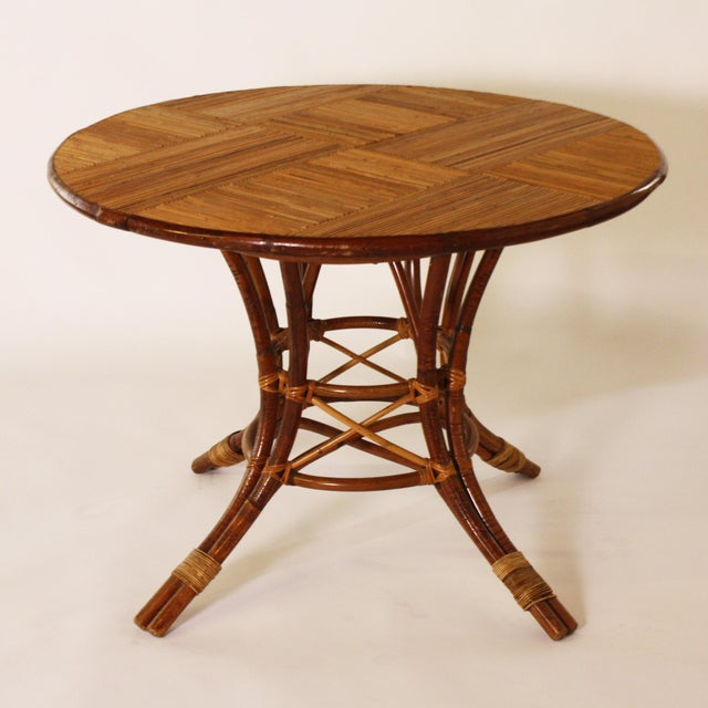 Wood French Bamboo Round Table With Leaf C. 1960 For Sale - Image 7 of 9
