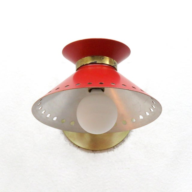 Metal Pair of Red Arlus Wall Lights, 1950s For Sale - Image 7 of 11
