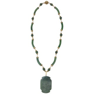C.1950 Miriam Haskell Green Jade Asian Art Deco Inspired Necklace For Sale