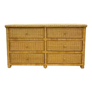 Vintage Natural Woven Wicker Credenza Dresser For Sale