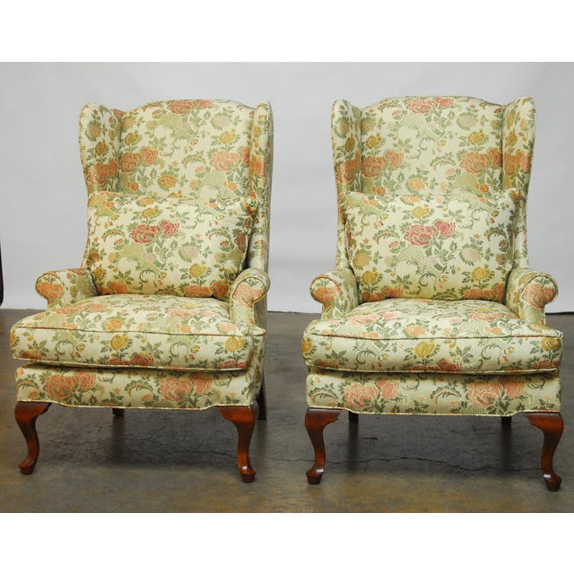 George II Style Brocade Wingback Chairs - A Pair - Image 3 of 9