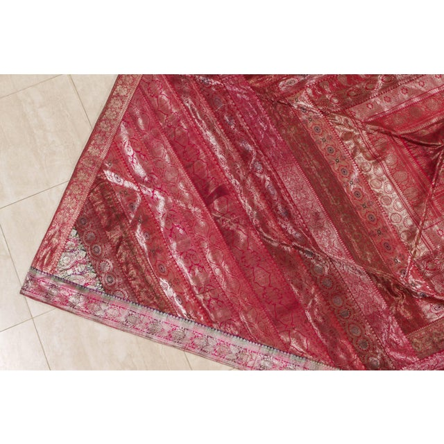 Boho Chic Indian Silk Sari Tapestry Quilt Patchwork Bedcover Fuchsia Color For Sale - Image 3 of 10
