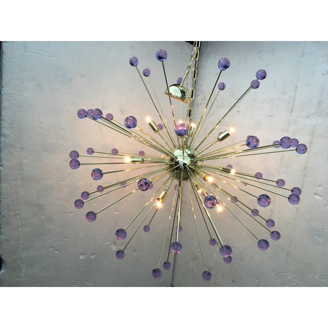 "Chandelier murano glass triedo sputnik multicolors very big metal frame in color light gold diameter 105 cm = 39.4 ""..."