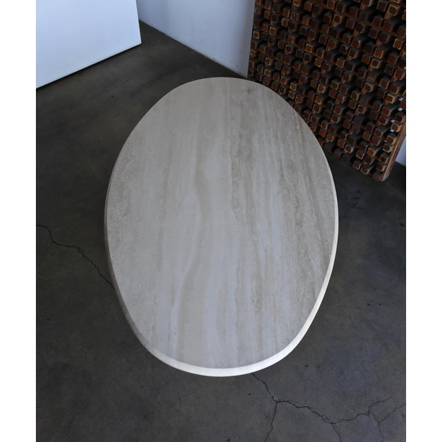 Stone Travertine Oval Dining Table Circa 1980 For Sale - Image 7 of 11