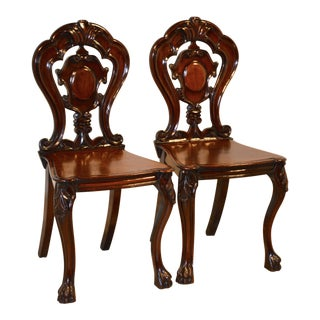 19th Century Pair of Mahogany Hall Chairs For Sale