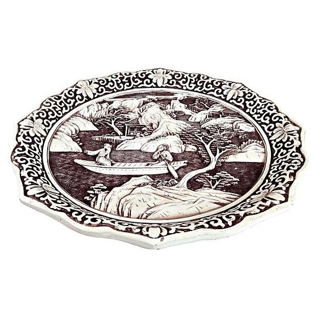 Antique Chinese Hand-Carved White Cinnabar Plate - Image 3 of 4