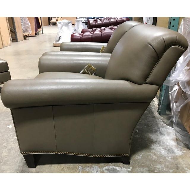 Hancock & Moore Brand New Hancock & Moore Leather Studio Chairs & Ottoman - Set of 3 For Sale - Image 4 of 7
