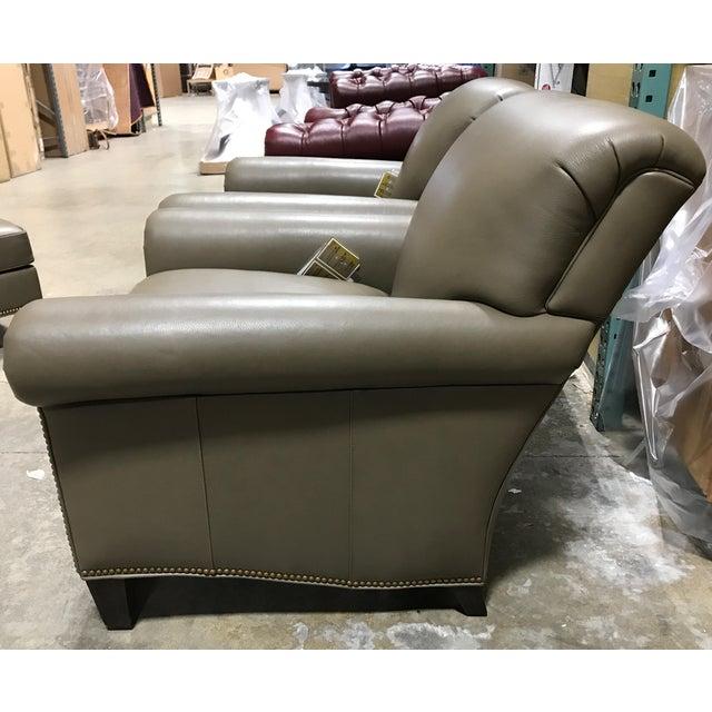 Hancock & Moore Leather Studio Chairs & Ottoman - Set of 3 - Image 4 of 7