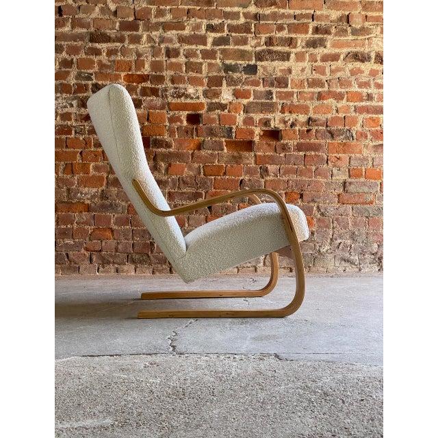Alvar Aalto 1940s Vintage Alvar Aalto Model 401 Cantilever Lounge Chair in Bouclé by Finmar For Sale - Image 4 of 12