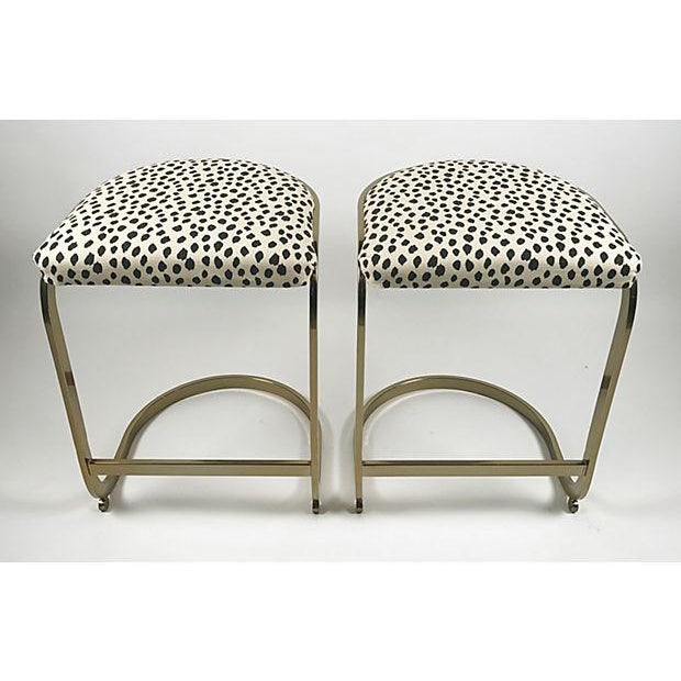 Milo Baughman Style Brass Cantilever Stools - A Pair For Sale - Image 4 of 10